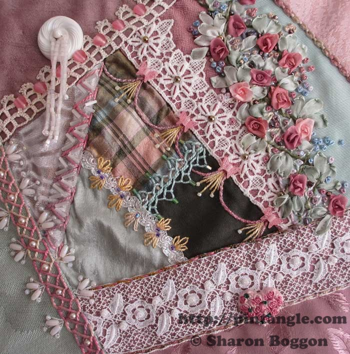 Work in Progress Wednesday: Lace crazy quilt block 22