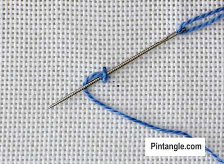 Palestrina stitch Version 1 tutorial step 4