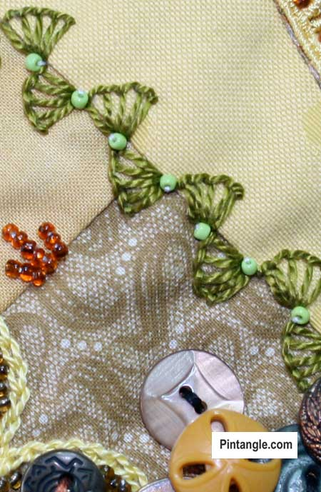Buttonhole wheel stitch sample 10