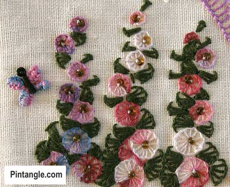 Buttonhole wheel stitch sample 4