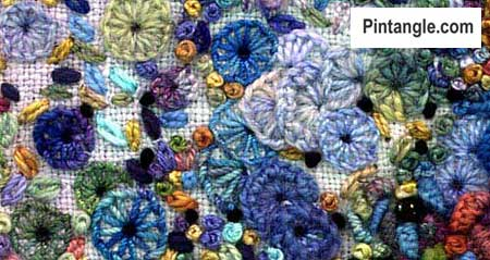 Buttonhole wheel stitch sample 5