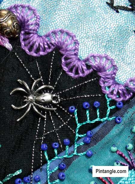 Buttonhole wheel stitch sample 9