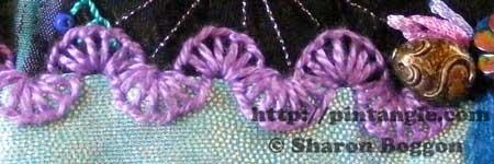 buttonhole wheel stitch sample