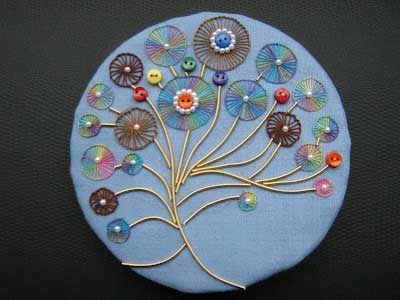 buttonhole wheel stitch hand embroidery sample