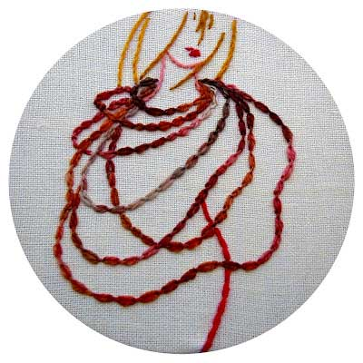 hand embroidered cable chain stitch