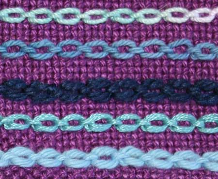 sample of cable chain stitch