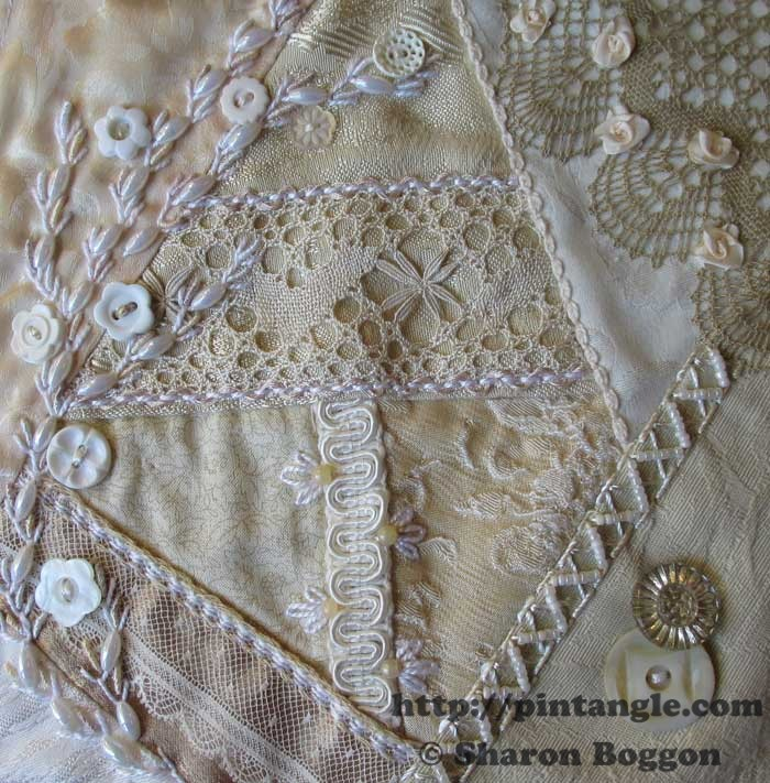 Work in Progress Wednesday Lace Crazy Quilt block 23