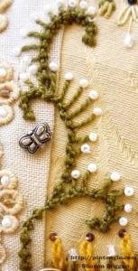 Sample of hand embroidered Palestrina stitch