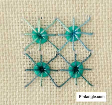 Algerian Eye stitch sample over beads