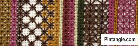 Algerian Eye stitch sample of varieties 2