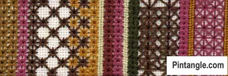 Algerian Eye stitch sample of varieties 2