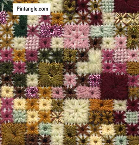 Algerian Eye stitch sample of varieties 1