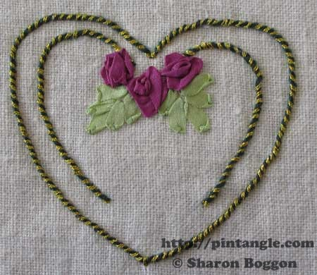 Silk ribbon embroidery sampler of a heart