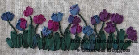 Silk ribbon embroidery sampler of tulips