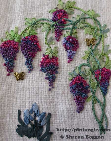Silk ribbon embroidery sampler of wisteria
