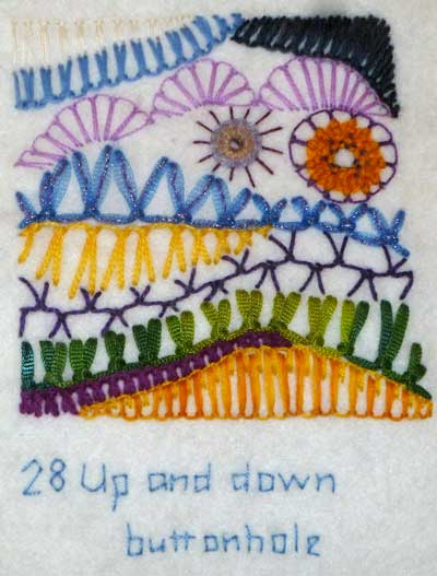 up and down buttonhole hand embroidered sample