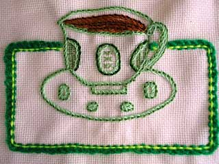 Hand Embroidered sample of Pekinese stitch