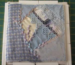 crazy quilt block in progress