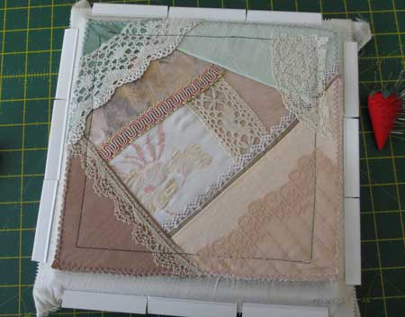 start of crazy quilt block