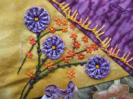 hand embroidered knotted buttonhole stitch sample