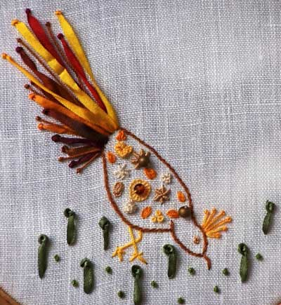 Hand embroidered pistil stitch sample