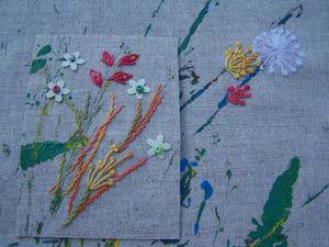 hand embroidered sample of pistil stitch