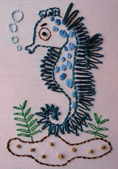 Hand embroidered Italian Knotted border stitch