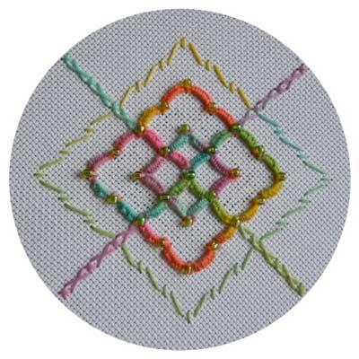beaded hedebo edge needlework sample