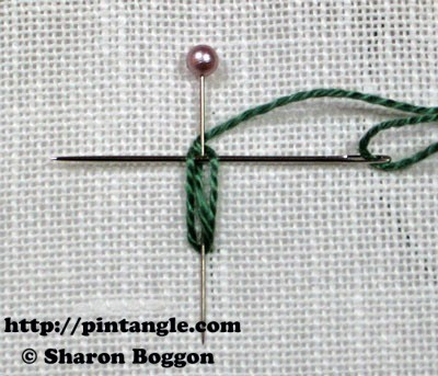 needlewoven picot leaf step by step directions 4