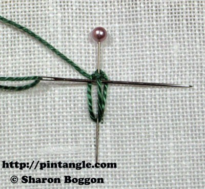 Closed base needlewoven picot stitch 5
