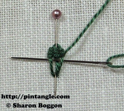 Closed base needlewoven picot stitch 6