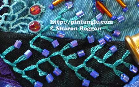 crazy quilt block embroidery seam detail