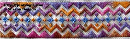 hand embroidery detail on needlework stitching sampler