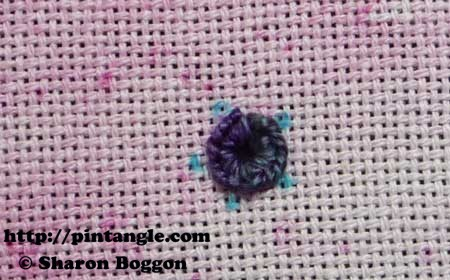 how to hand embroider a buttonhole eyelet flower step 5