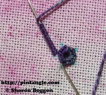 how to hand embroider a buttonhole eyelet flower step 7