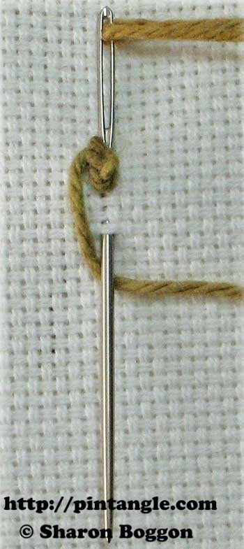 how to stitch knotted cable chain step 3