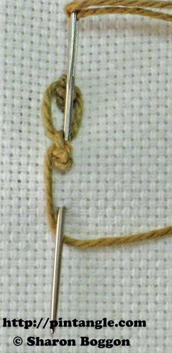 how to stitch knotted cable chain step 7