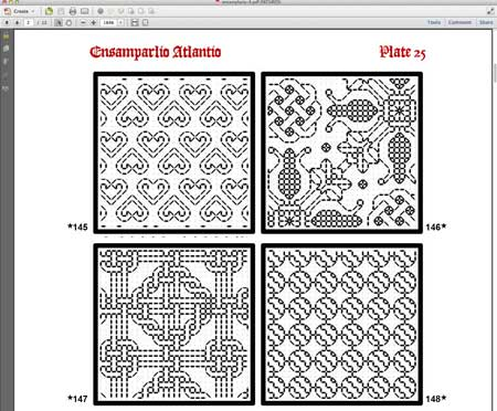 screenshot of Ebook of blackwork patterns