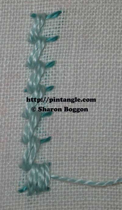 how to work Portuguese border stitch step 5