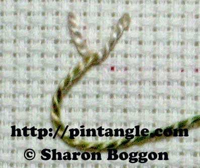 Knotted feather stitch step 1
