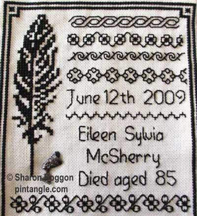 mourning memorial needlework sampler