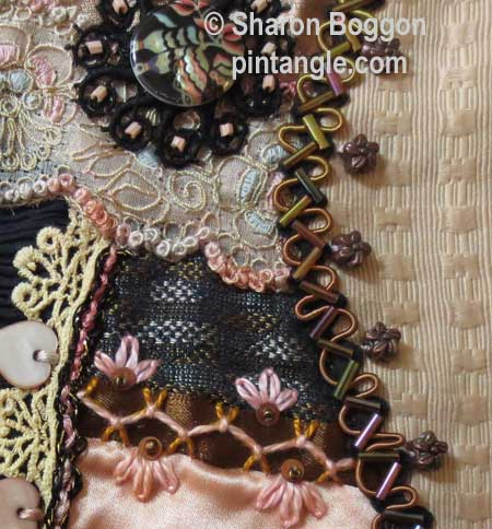 crazy quilt block hand embroidery detail