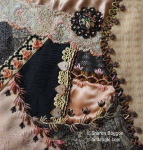 crazy quilt block hand embroidery