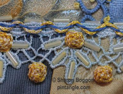 Raised cross stitch flower sample 5