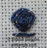 Raised cross stitch flower sample 1