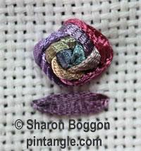 Raised cross stitch flower sample 4