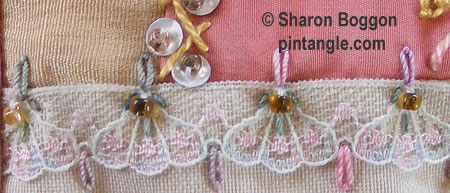 hand embroidered seam on Crazy quilt block