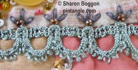 hand embroidered seam on Crazy quilt block