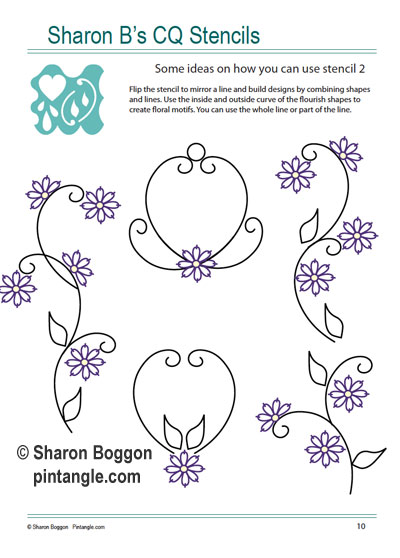 patterns created using Sharon B's CQ Stencils