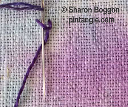 buttonholed double chain stitch step 2